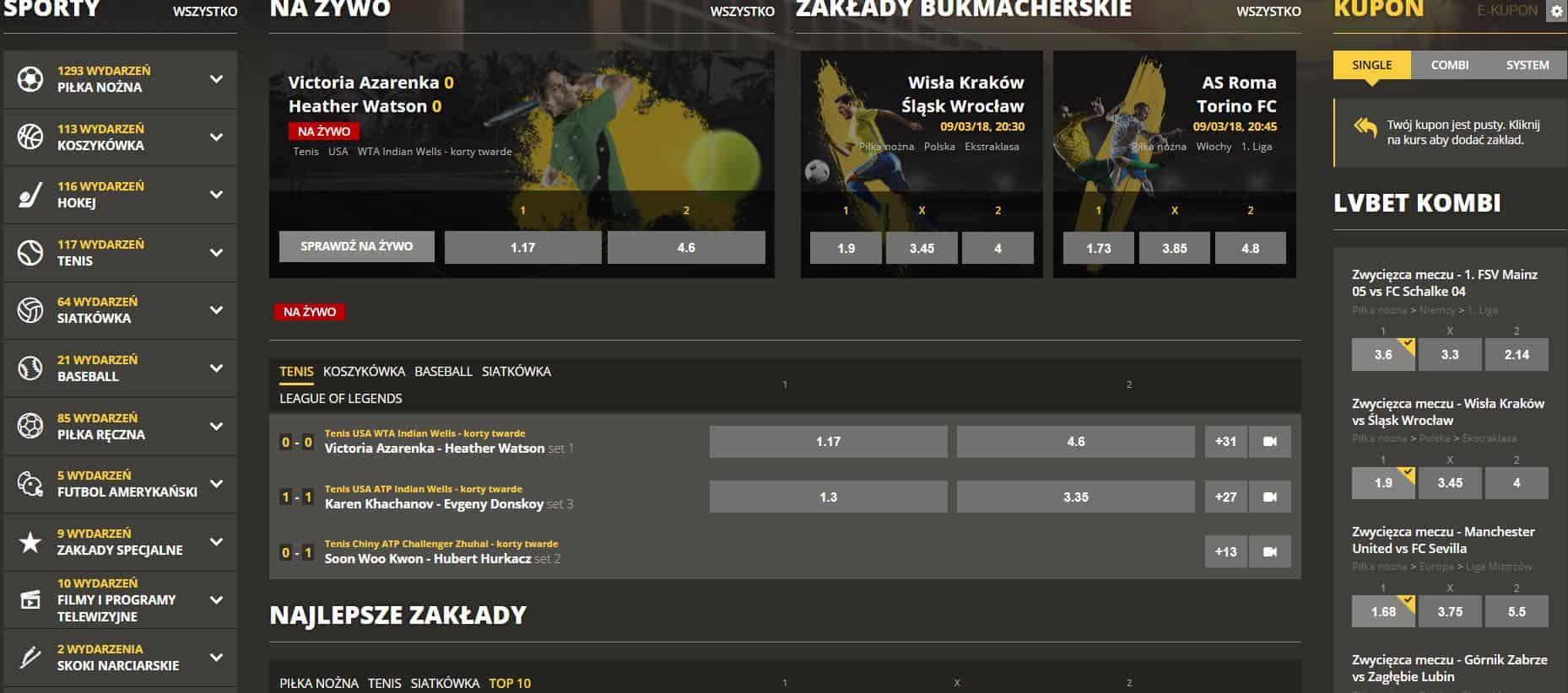 Zakłady Bukmacherskie LvBET oficjalna strona www