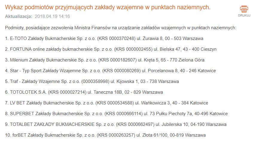 Legalni bukmacherzy stacjonarni w Polsce
