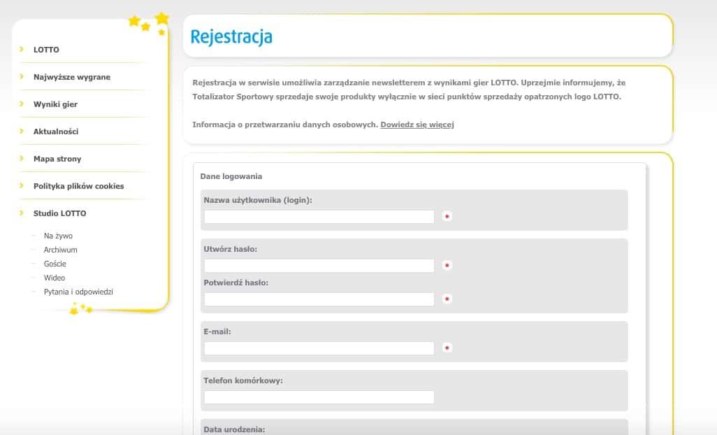 Lotto online - Rejestracja konta