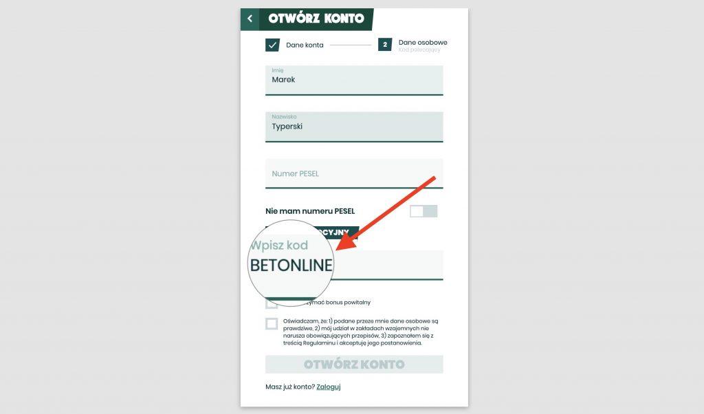 Betfan rejestracja - kod promocyjny
